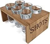 Vintage Bamboo Shot Glass Holder With 6 Crystal Clear Shot Glasses 1oz By Trendy BartenderTM Glassware and Shot Stand for Home - Professional or Amateur Bartenders