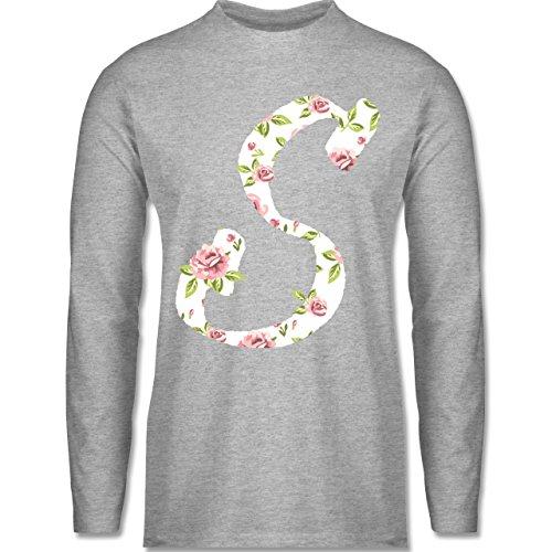 Shirtracer Anfangsbuchstaben - S Rosen - Herren Langarmshirt Grau Meliert