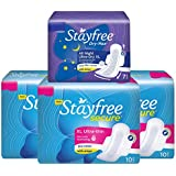 Stayfree Secure Ultra Thin Pads - 10 Pads (Extra Large, Pack of 3) with Free Dry Max All Night Ultra Dry Pads (Extra Large)