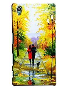 Blue Throat Two Lover Walking With Love Painting Printed Designer Back Cover For Sony Xperia Z5