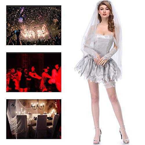 JH&MM Halloween Kostüm Frauen Teufel Geist Braut Trägerloses Kleid Set Cosplay Maskerade Kostüm,XL