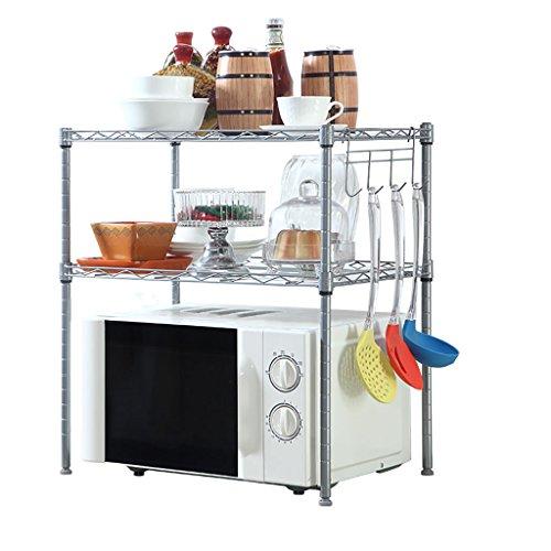 JJJJD 3-stufiges Aufbewahrungsgestell für Mikrowellenständer, Küchenregal für Mikrowelle, Bäckerei-Regal mit Gewürzregal, Silbergrau (Color : Chrome) - Bäckerei Schrank