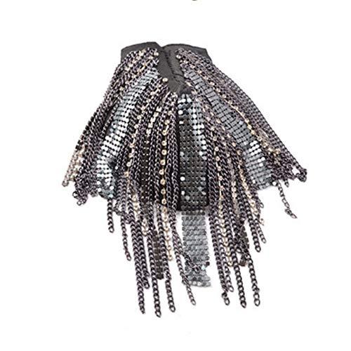 ANSJIN Unisex Fringe Schulterstücke Quaste Lange Kette Epaulet Schulter Bretter Abzeichen Uniform Kostüm Zubehör Für Männer Frauen schöne Dekoration auf Kleidung (Farbe : Schwarz) Prince Black Jacke