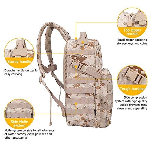 Oleader 30L Taktischer Rucksack Militär Molle 3 Tage Angriffspackung Sturm-Rucksack für Wandern Schießen Camping Trekking Jagd im Freien Wüste Digital