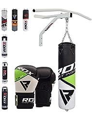 RDX Saco de Boxeo Relleno MMA Muay Thai Kick Boxing Artes Marciales Con Soporte Pared y Barra Dominadas Guantes Cadena 5FT Punching Bag