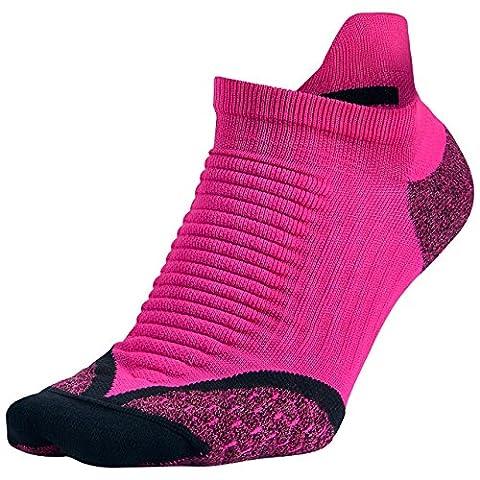Nike Elite Running Cushion NST Paire de chaussettes Unisexe, No Show Socks Elite Running Cushion NST, Multicolore - Pink Foil/Black, 4-5.5