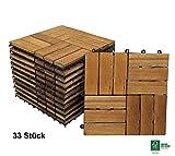 SAM® Terrassen-Fliese Variante 2 aus Akazien-Holz, 33er Spar-Set für ca. 3m², Garten-Fliese mit 12 Latten, Balkon Bodenbelag mit Drainage Unterkonstruktion, FSC® 100 % zertifiziert, Klick-Fliesen