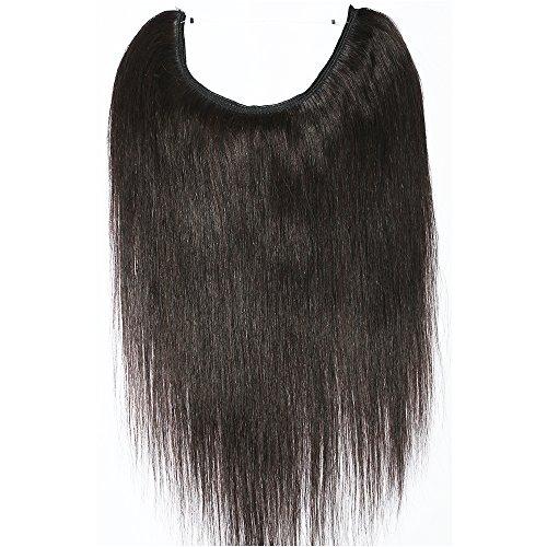 Wire in extension capelli veri fascia unica con filo invisibile no clip 100% remy human hair lunga 40cm pesa 60g, 1b nero naturale