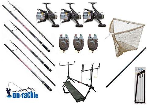 Angel–Juego de 3cañas 3,60m 2,75lbs 40–90g 3carretes de 3picada electrónicos Rod Pod carpas Red de pesca Barra Ganchos