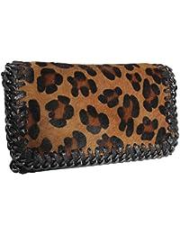 FERETI Bolso Cuero Print Leopardo Pantera Pelo Bandolera Mujer Animal impresión Piel