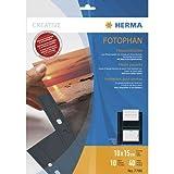 Herma 7788 Fotophan Fotohüllen (für max. 20 Fotos im Format 20x30cm, 10 Sichthüllen, inkl. Beschriftungsetiketten) schwarz, für alle gängigen Ordner und Ringbücher