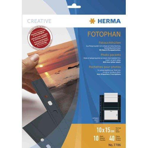 fotohuellen 10x15 Herma 7788 Fotophan Fotohüllen (für max. 20 Fotos im Format 20x30cm, 10 Sichthüllen, inkl. Beschriftungsetiketten) schwarz, für alle gängigen Ordner und Ringbücher