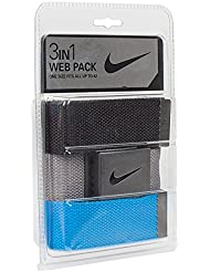 Nike hombre 3Pack Web, One Size Fits Most, Black/Gray/Photo Blue