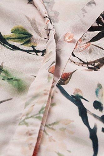 GINA_LAURA Damen Tunika | multicolor Exotik-Muster | Stehkragen, verdeckte Knöpfe | Langarm, Relaxed Fit | Viskose, bis Größe XXXL 707887 Multicolor