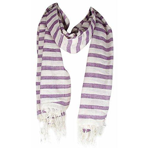 The Outlet London Schal mit Quaste, horizontal, gestreift, Violett/cremefarben -