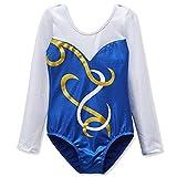 DAXIANG Leotards für Mädchen Gymnastik Langärmel Shinny Tanz Ballett athletische Kostüme Alter 2-10 (Royalblue, 140(7-8 Jahre))