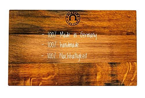massives,handgefertigtes Küchenbrett (30x18 cm) | aus altem Fassholz (Eiche) von Hand gefertigt | robust, hochwertig und klingenschonend | tolles Küchenbrett aus der Pfalz | 12 Monate Garantie