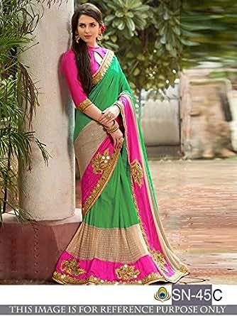 Sunshine Fashion Women's Tassar Silk Saree With Blouse Piece (Sunsa1999,Green,Free Size)