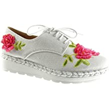 Angkorly - Zapatillas de Moda zapato derby zapatillas de plataforma mujer flores líneas trenzado Talón Plataforma 3 CM - Blanco