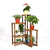 UNHO Wood Plant Stand Ladder Tiered Flower Stand Rack Indoor Outdoor Plant Display Shelves Plant Pots Stand Multifunctional Storage Organizer for Living Room Balcony Hallway Yard Garden