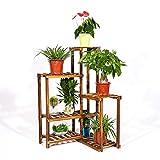 UNHO Porte Pot de Plantes d'angle en bois Etagère à Fleur Rustique avec 6 niveaux Amplement d'espace pour vos fleurs et objets décos Idéal pour Jardin Balcon Terrasse 60 x 60 x 100 cm