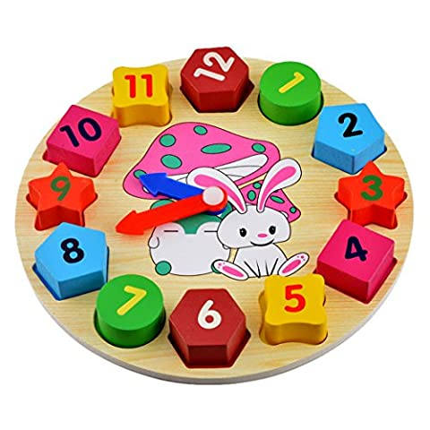 Souarts Rabbit Clock Baby Early Educational Wood Wooden Toys Best for Christmas Gift
