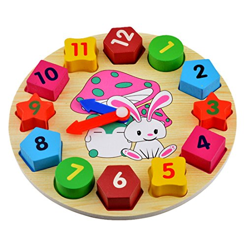 Souarts Rabbit Clock Baby Early Educational Wood