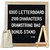 #3: Toys Bhoomi Kids Activity Play Easel Oak Wood Framed 10*10 Inch Felt Letterboard with 288 Letters, Numbers & Symbols + Free Canvas Bag , Wall Mount and Stand
