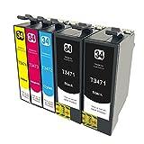civoprint 5Stück Ersatz-Tintenpatronen für Epson 34x l 34XL t3471t3472t3473t3474Für Epson WorkForce Pro wf-3720dwf, wf-3725dwf Drucker (2BK, 1C, 1M, 1Y)