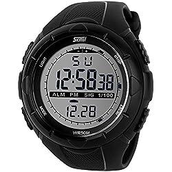 Skmei 5ATM Impermeable LCD digital - cronometro - Fecha Alarma - negro