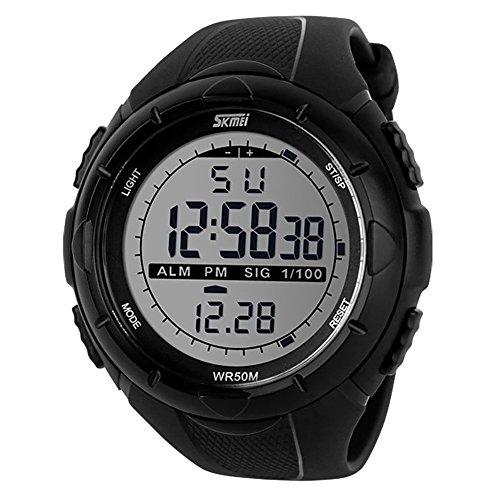 Skmei 5ATM Impermeable Moda Hombre LCD digital cronometro Cronografo Fecha Alarma Casual Reloj de pulsera deportivo negro