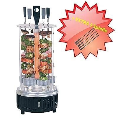 Vertikaler Edelstahl Elektro-Tischgrill 360° Elektrogrill BBQ Vertikalgrill Rundgrill für Schaschlik-, Fleisch-, Garnellen-, Gyrosspieße Dreh-Grill 1000W mit Schutzgitter inkl. 5 Spieße + 5