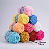 #1: NEW Super Soft Smooth Chunky Hand-woven Woolen MUSTURD YELLOW COLOR Yarn,(16 Color Options Available) Acrylic Double Knitting Wool Yarn Colorful Baby Skein Ball Yarn for DIY Knitting Craft Yarns (2 Roll x 50 grams = 100 Grams).for Towel, Sweater, Coat, Dress, Scarf, Baby Blanket, Toys and Socks etc. (LIMITED STOCK AVAILABLE)