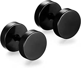 Zivom Round Dumbell Barbell 6 Mm 316L Surgical Stainless Steel Black Silver Rhodium Ear Stud Earring Pair Boys Men Gift