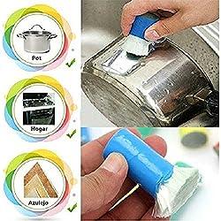 Demarkt Mejores Herramientas de Cocina del metal del acero inoxidable de la cocina mágica Óxido de limpieza Detergente palo de cepillo de lavar olla de cocina