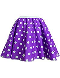 "Childrens Polka Dot Skirt Rock n Roll 50's/ 60's Style 16 different colours 12"" length (1-3 (waist 9.5 inch), Purple and white spot)"
