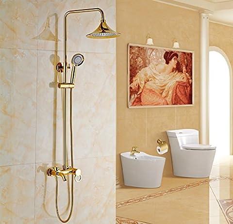 PIGE Europäische - Art-Gold-Duschkopf Dusche Sätze von Kupfer Badezimmer Bad Dusche