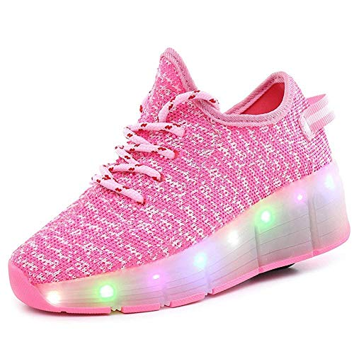 Scarpe da Tennis, Scarpe da Bambini A LED con Ruote Ruote Singole Pattini da Skateboard Retrattili Le Vibrazioni Illuminano Le Pulegge Unisex All'aperto,Pink-1UK