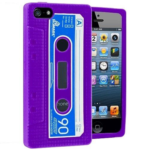 Gadget Giant iPhone 5 Purple-Retro Cassette Coque en Gel Silicone avec film protecteur d'écran LCD & & stylet tactile LCD d'écran-The New iPhone 5 sorti en septembre 2012 Design courbe e