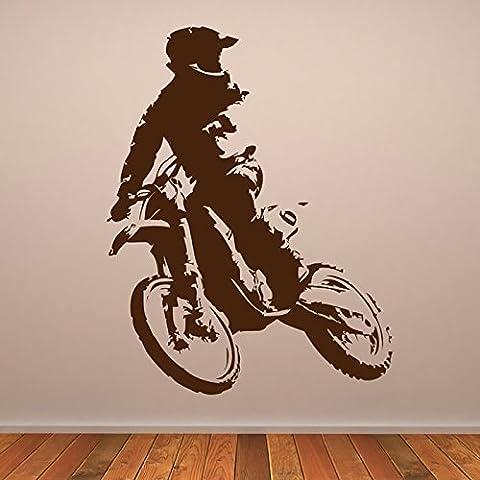 Motocross Bike & Rider MotoX Moto Stickers muraux Sport automobile Décor Art Decal disponible en 5 dimensions et 25 couleurs Grand Noir
