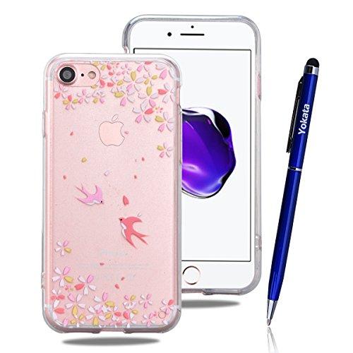 Cover iPhone 7, Yokata Custodia Trasparente Crystal Clear Coque PC Hart Backcover con Soft Morbido TPU Silicone Bumper Case et Ultra Slim Protettivo Case Cover + 1*Penna Stilo - Deglutire - Starbucks Peluche