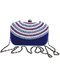 Spice Art Women's Blue Embroidered Box Clutch