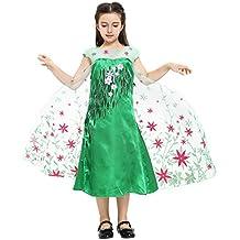 Katara - Disfraz de la princesa Elsa - Frozen Fever - vestido verde estampado con flores rojas de la Reina de las Nieves, traje de fiesta para niñas - 8-9 años