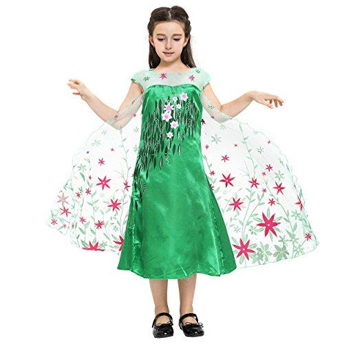Katara - Disfraz de la princesa Elsa - Frozen Fever - vestido verde estampado con flores rojas de la Reina de las Nieves, traje de fiesta para niñas - 7-8 años