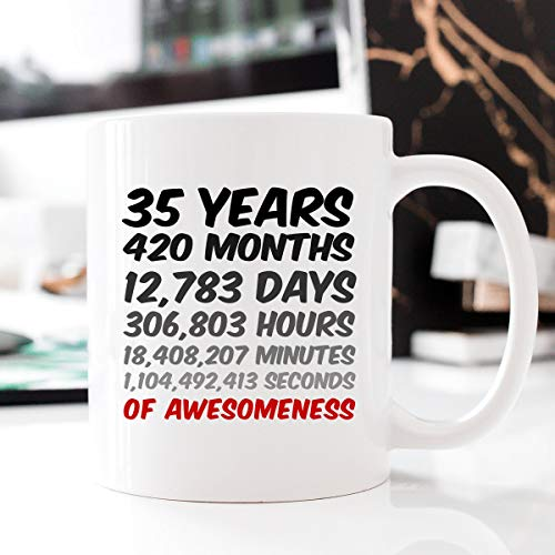 35th Birthday or Anniversary Gift, 35 Years of Awesomeness Coffee Mug For Mum, Dad, Husband or Wife