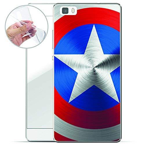finoo   Huawei P8 Lite Weiche Flexible Silikon-Handy-Hülle   Transparente TPU Cover Schale mit Motiv   Tasche Case Etui mit Ultra Slim Rundum-Schutz   American Shield - Cellular Shield