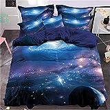 Bettbezug Set 3D Galaxy Sternenhimmel Universum Mond Duvet Quilt Und Kissenbezug für Kinder, Jungen, Mädchen Bettwäsche Set (Stil #6, 135 x 200 cm)
