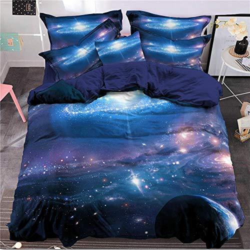 Bettbezug Set 3D Galaxy Sternenhimmel Universum Mond Duvet Quilt Und Kissenbezug für Kinder, Jungen, Mädchen Bettwäsche Set (Stil #6, 135 x 200 cm) (Bettwäsche-daunendecke-abdeckung)