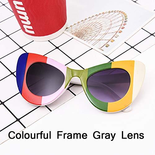 HUWAIYUNDONG Sonnenbrillen,Fashion Big Frame Sunglasses Women Classic Leopard Patter Cat Eye Glasses Femle Travel Colorful Gray