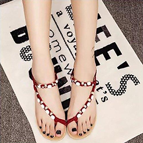 Transer® Damen Flach Sandalen Peep-Toe Perlen Wulstig Kunstleder+Gummi Schwarz Rot Beige Sandalen (Bitte achten Sie auf die Größentabelle. Bitte eine Nummer größer bestellen) Rot